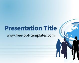The free Global Business PowerPoint Template is a blue template with a background image of a businessman and globe.