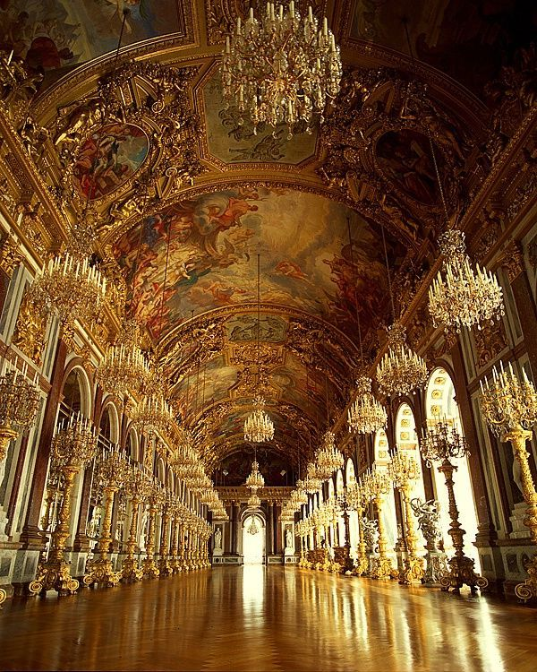 Germany Travel Inspiration - Hall of Mirrors, Herrenchiemsee Palace, Germany. This is a duplication of the Hall of Mirrors in the Palace of Versailles because King Ludwig of Bavaria idolized Louis XIV of France.