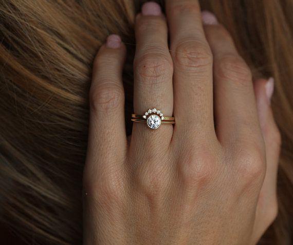 Yellow gold Diamond Ring With Curved Diamond Band by MinimalVS