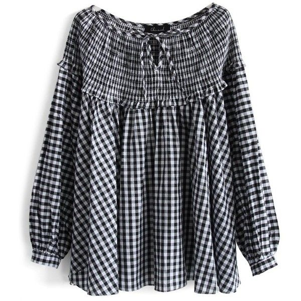 Chicwish Sassy Gingham Dolly Smock Top (€35) ❤ liked on Polyvore featuring tops, black, black top, tie top, smock tops, relaxed fit tops and keyhole top