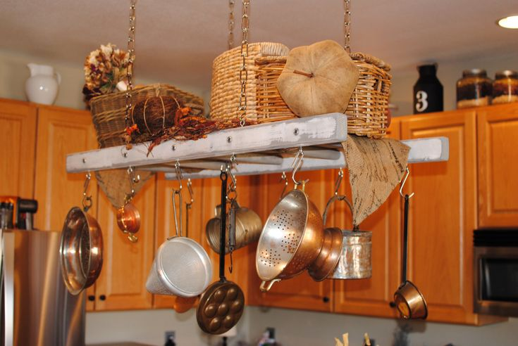 Decorating With Old Wood Ladders | Ladder Pot Rack, Repurposed Ladder, Farmhouse Pot Rack and Ladder ...