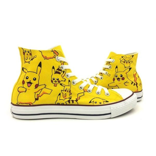 Pokemon Pikachu Converse Shoes Men Women Hand Painted High Top Canvas... (77 ARS) ❤ liked on Polyvore featuring men's fashion, men's shoes, men's sneakers and shoes