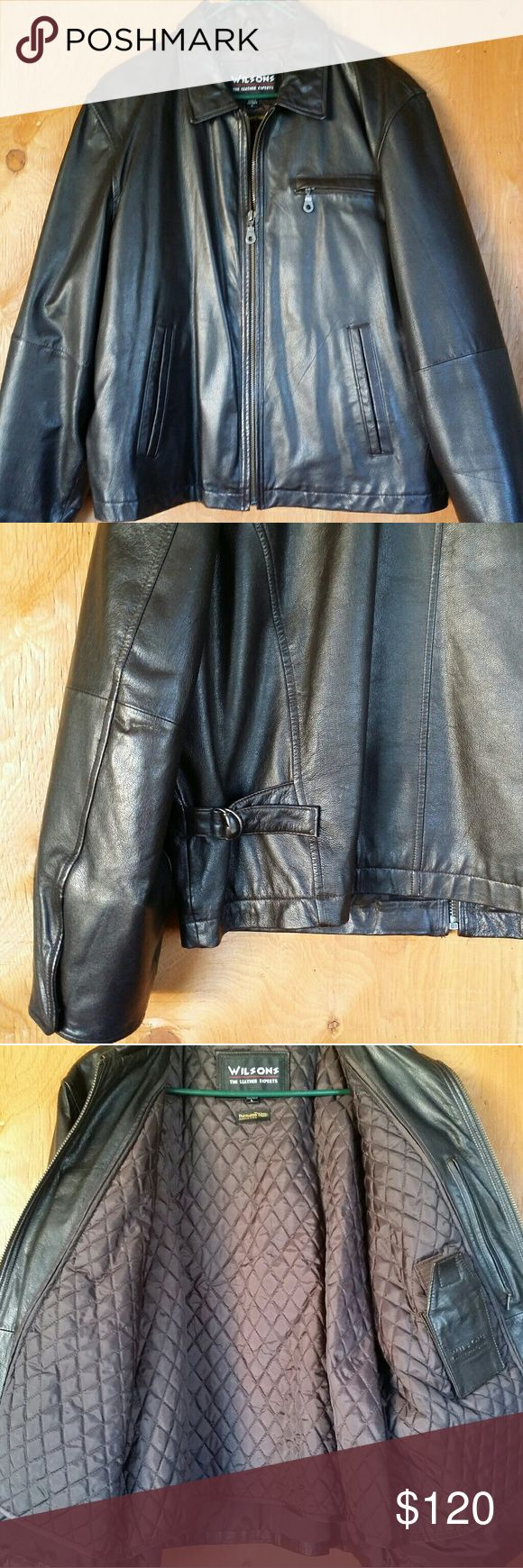 Wilson leather motorcycle jacket for men size L Excellent condition thrinsulate  3 pockets front 2 inside 26 in chest 26 in length 26 in sleeves Wilsons Leather Jackets & Coats Performance Jackets
