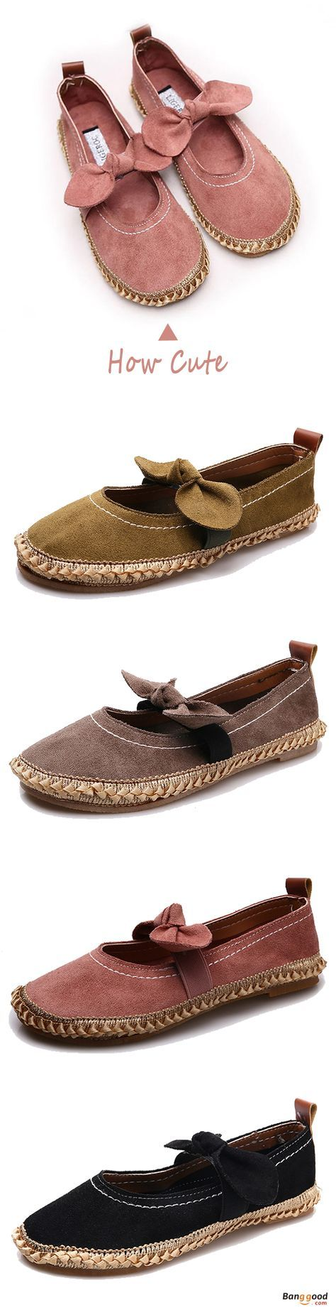 US$19.89 + Free shipping. Size: 5-9. Color: Black, Pink, Khaki, Green. Fall in love with casual and cute style! Women Bowknot Round Toe Slip-On Suede Outdoor Flat Casual Shoes.