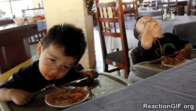 Pin for Later: 25 Hysterical GIFs of Kids Eating That Prove They Do Everything Best Sleepy Spaghetti