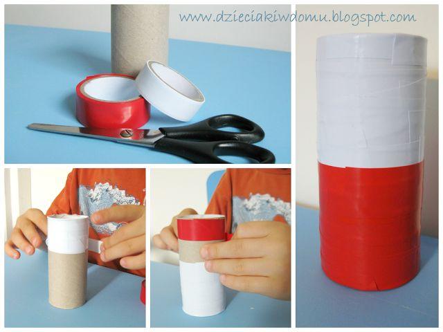 Flaga Polski z rolki papieru