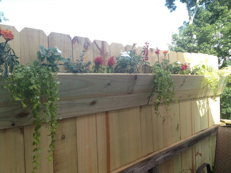 You can create a simple planting bed for shallow-rooted plants by attaching a long board to your fence to create a V-shaped planting bed. This is an excellent way to dress up a plain fence, without breaking your budget or setting into motion an enormous project.