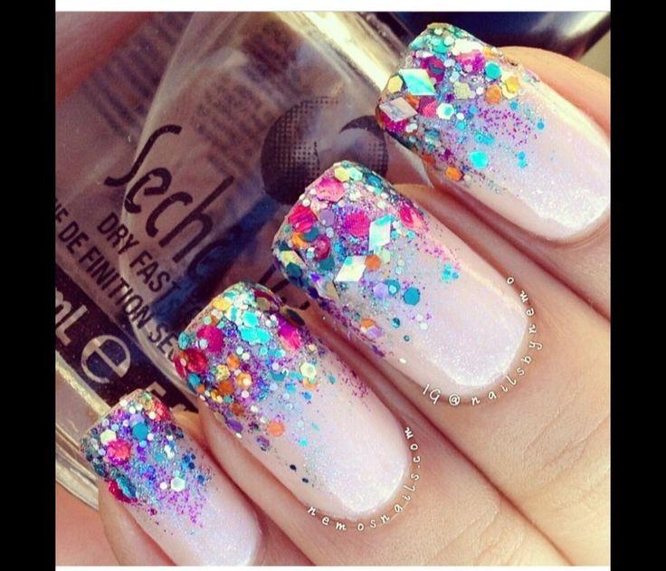 Multicolor glitter French tips