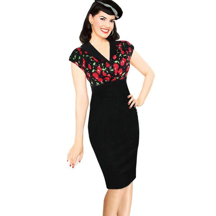 >> Click to Buy << Women Vintage Business Office Dress 2017 Summer Retro Pinup Patchwork Short Sleeve Elegant Slim Bodycon Pencil Dresses #Affiliate
