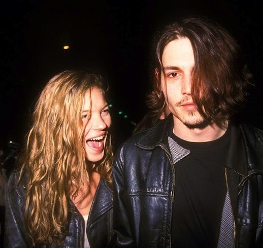 Kate Moss + Johnny Depp (Her hair is everything!)