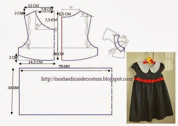 Vestido de criança dos 1 aos 2 anos fácil de fazer. As medidas facilitam o corte. Dobre o tecido ao meio, marque a altura no vestido, marque a altura da ca