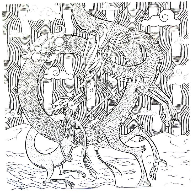 Large And Small Detailed Dragon Coloring Book Page For Adults