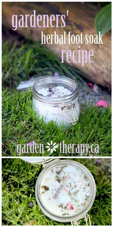If you come in from the garden with dirty, achy feet then this herbal soak is for you. It stores well in a pretty jar but packs a powerfulpunchof soothing herbs in a foot bath. #bath #footsoakGardens Therapy, Gardener'S Herbal, Herbal Foot, Foot Bath, Achy Feet, Foot Soak Recipe, Gardens Herbal, Herbal Recipe, Foot Soaks
