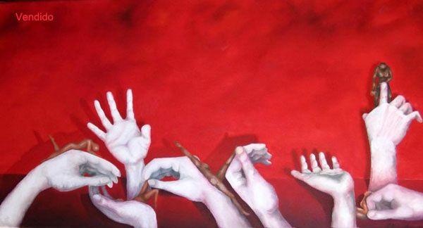La mano del otro 2002 Oleo s tela  80 x 40