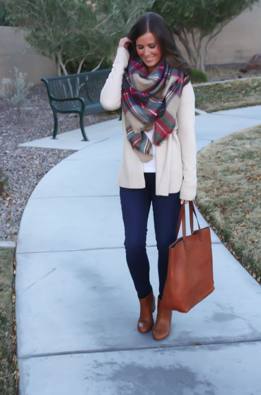 white/off-white cardigan, white shirt, jeans, brownish boots, scarf, michael kors bag