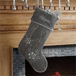 Personalized Silver Christmas Stockings