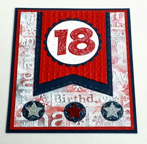 18. Geburtstag, Die-namics  Jumbo Fishtail Banner Stax, Spellbinders, Marianne Design Collectables Party Numbers, Embossing, Stamping with Embossing-Folder