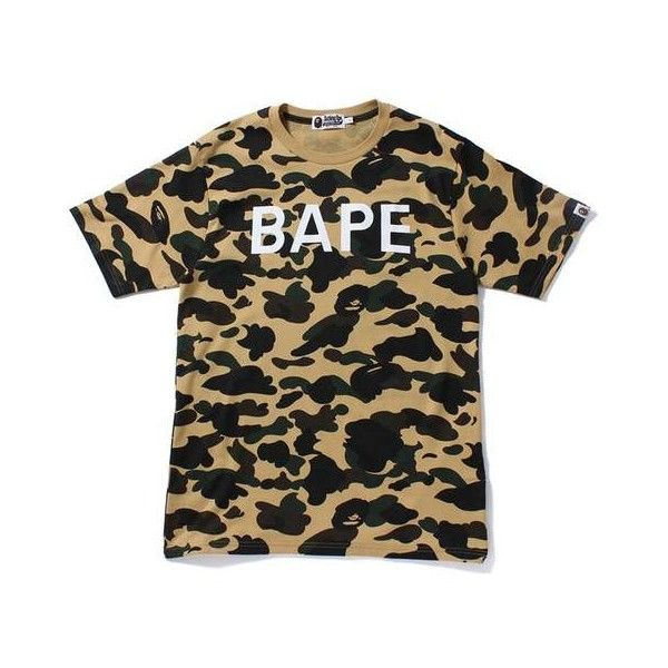 1ST CAMO BAPE TEE ($100) ❤ liked on Polyvore featuring tops, t-shirts, camo print top, cotton t shirts, a bathing ape, camouflage tee and camouflage top
