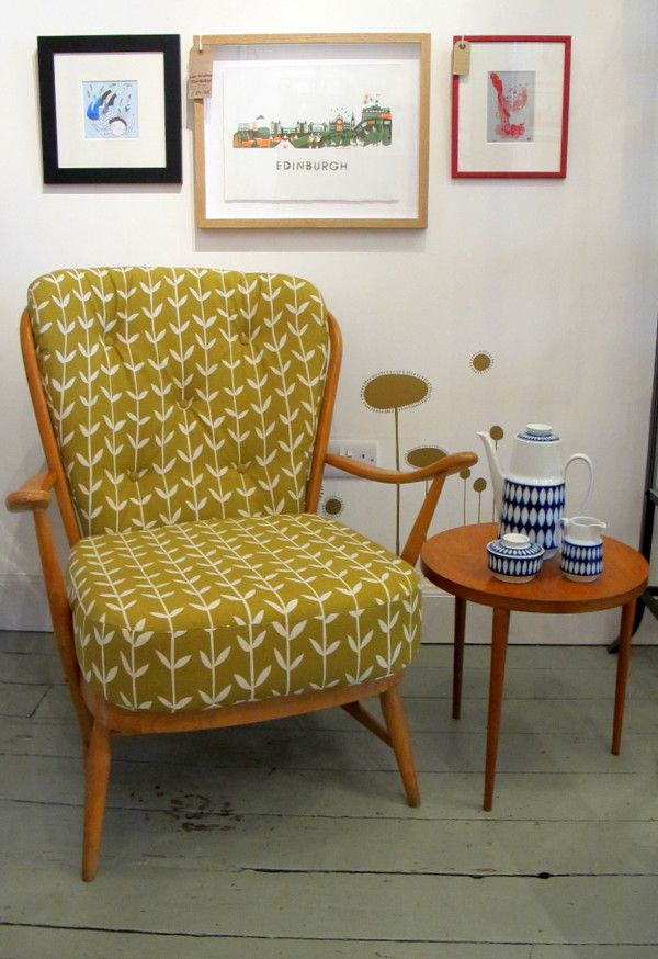 Vintage chair reupholstered in @skinnylaminx fabric.  nice! :))