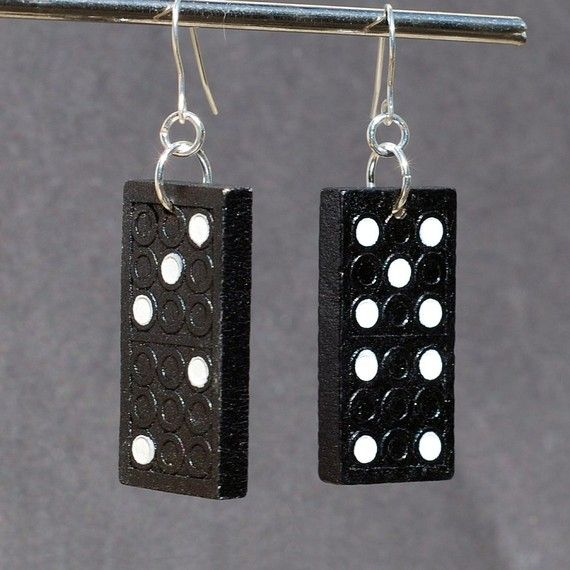 Found Object Jewelry Upcycled Domino Earrings by Tanith on Etsy