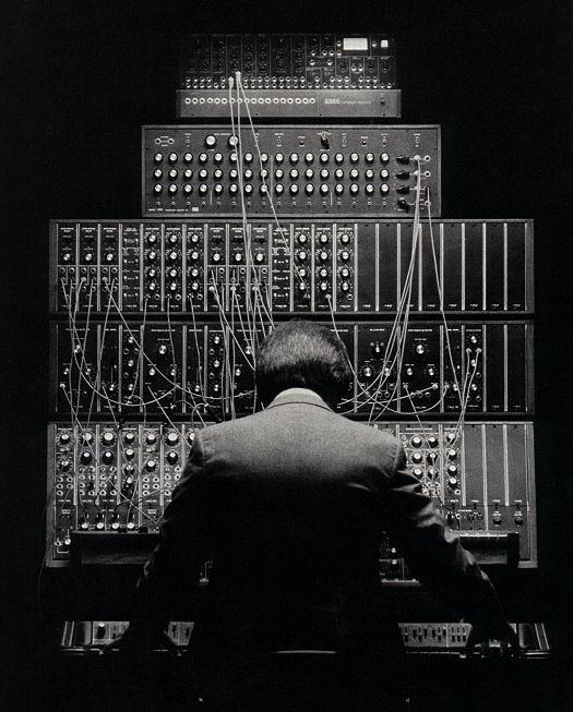 Tom Palmer - My original synth system - Polymoog, Minimoog, Moog 55, Sequential Circuits sequencer, Korg Expander Module.