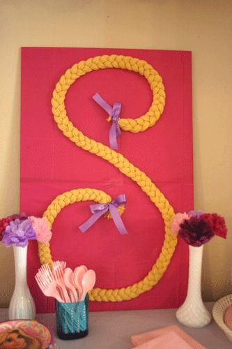 "LOVE this Rapunzel-themed piece!! It would look AWESOME In Ava's room as a picture... could even frame in a white frame - SUPER cute!! Obviously with an ""A"" monogram!!  credit: Honey Bee Vintage Rapunzel Braid [http://www.honeybeevintage.com/2012/03/rapunzel-birthday-party.html]"