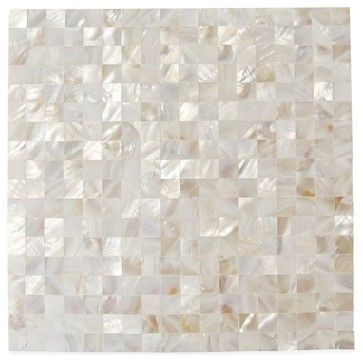 love love - for kitchen backsplash Serene White Square Pearls Glass Pattern Tile contemporary-tile