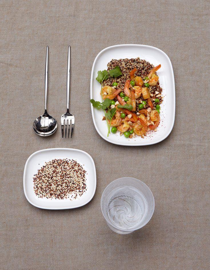 Recette Risotto de quinoa aux crevettes : Rincez le quinoa sous un filet d'eau, dans une passoire fine, en remuant, jusqu'à ce que l'eau qui s'écoule ...