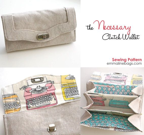 The Necessary Clutch Wallet Sewing Pattern, holds your iphone and everything else. Available in PDF or paper pattern. by EmmalineBags