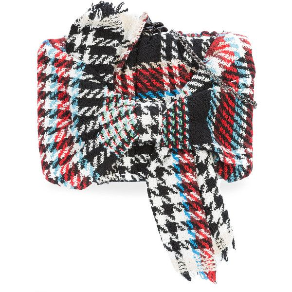 Oscar de la Renta Rogan bow box clutch (25.316.250 IDR) ❤ liked on Polyvore featuring bags, handbags, clutches, black, tri color handbags, multi coloured handbags, multi colored clutches, bow purse and oscar de la renta purse