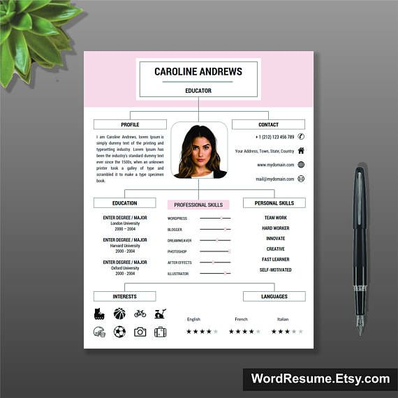 CV Template Professional Resume Template + Cover Letter and - download resume template