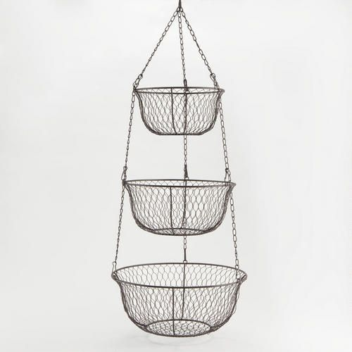 Three Tier Hanging Wire Basket We D Eat More Fruit And It Wouldn