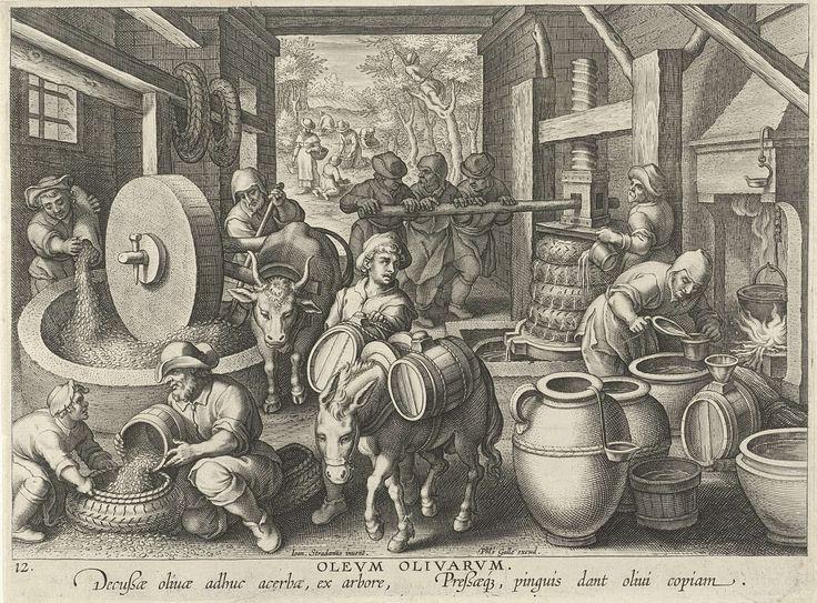 Olijfpers, Philips Galle, ca. 1598 - ca. 1593