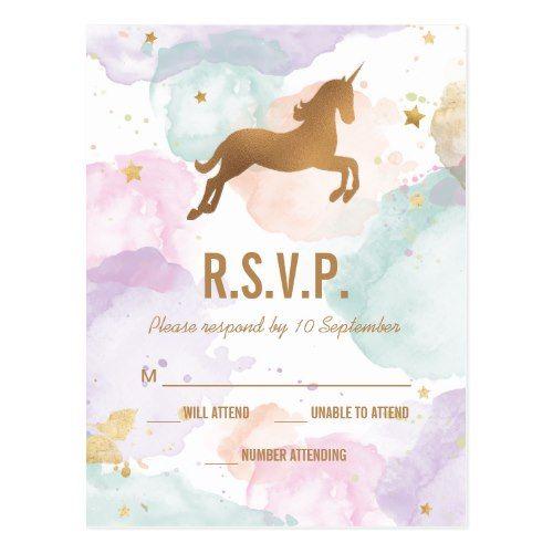 Pastel Unicorn Birthday Party Rsvp Invitation Postcard In 2018