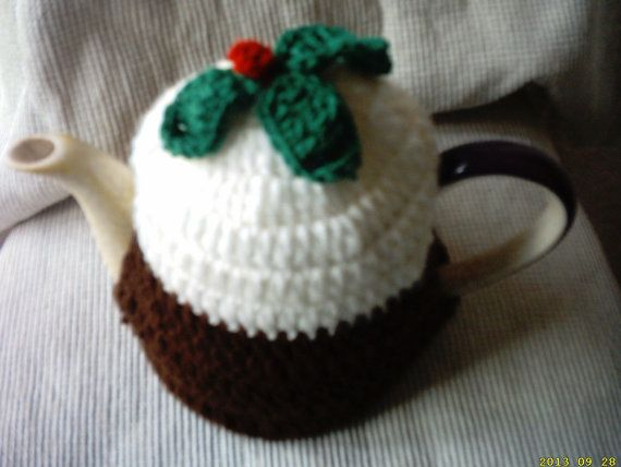 hand crochet christmas  pudding tea cosy small by crochetfifi