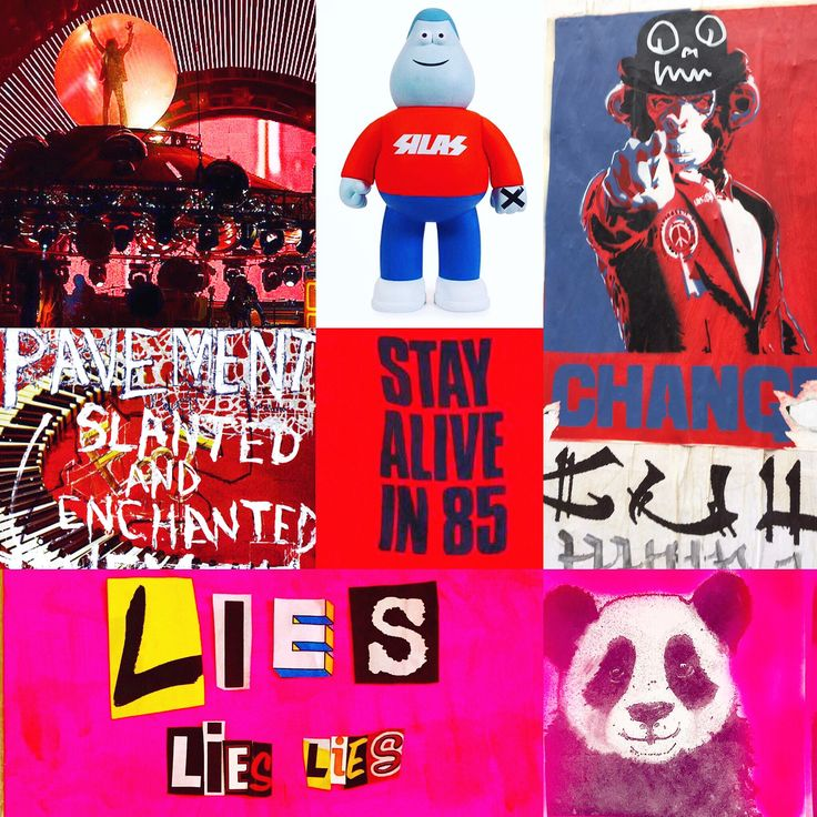 Photomontage/mashups Flaming Lips, Silas by James Jarvis, streetart Brick Lane, pavement Slanted & Enchanted, stay alive in 86, Katherine Hammett, lieslieslies - lettercuts & pandapops artwork by Lizzie Reake