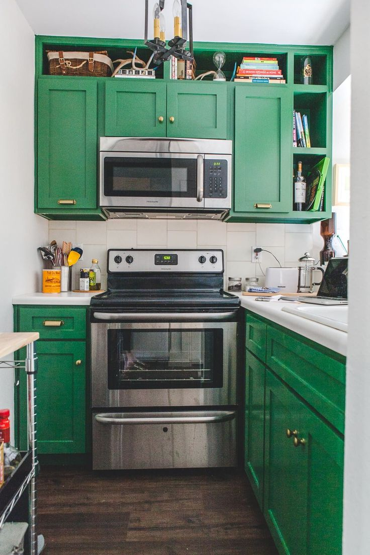 Sage kitchen cabinets houston - House Tour A Sunny 400 Square Foot South Austin Apartment Green Kitchen Cabinetskitchen