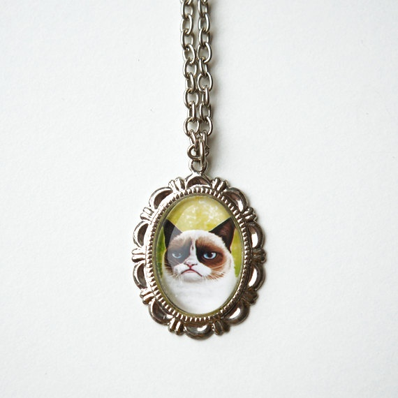 Grumpy Cat silver plated necklace by Efficats on Etsy, €6.00