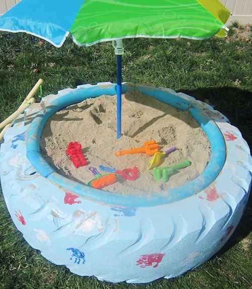 Pneu réutilisé en bac à sable Pneus recyclés #pneu #déco #recyclage