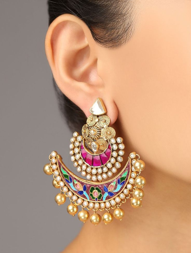 LOVE! Buy Pink Golden Festive Meenakari Earrings 92.5% Sterling Silver Zircon Pearls Online at