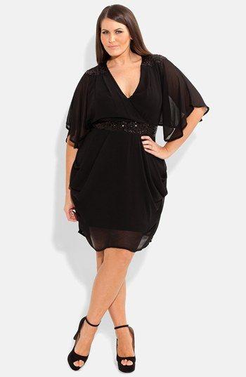 Embellished Draped Chiffon Dress (Plus Size)