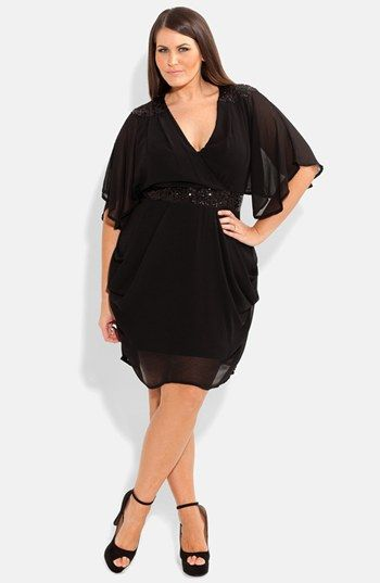 City Chic Embellished Draped Chiffon Dress (Plus Size) available at #Nordstrom  #weddingguest