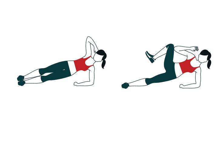 Érintsd össze a térdedet és a könyöködet oldalt, a képen látható módon támasztva magad. Nem baj, ha az érintés során egy kicsit összehúzod magad, ám arra ügyelj, hogy lefelé ne lógjon a csípőd.