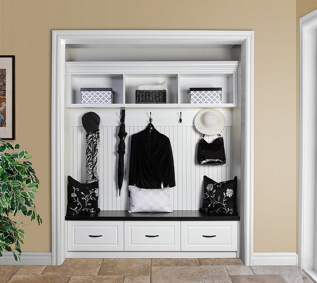 remove closet doors and make impromptu mud room - think about for