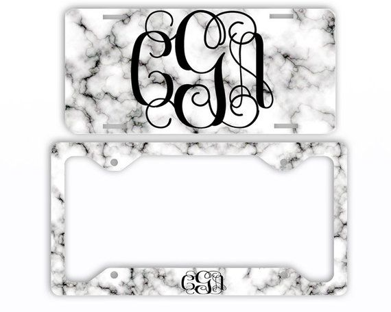 White Black Marble Look License Plate Car Tag Monogram Frame Personalized Set Custom Initials Car Coasters