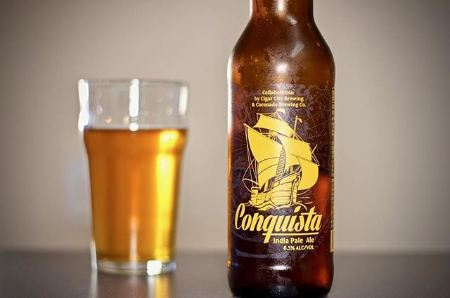 Coronado brewing co. Conquista ipa. This is a very smooth flavorful IPA. It has a touch of fruit (pineapple) flavor without being overwhelming. 6.5%alc. I really did enjoy this one, it's really easy to drink. It's heavy enough to to be a good IPA but light enough for everyone to enjoy.  7.5/10 #coronadobrewing #ipa #beer #beers @coronadobrewing #beerporn #beergeek #beerlover #beerstagram #beernerd #beersnob #beerme #craft #craftbeer #craftbeerlover #craftbeerporn #craftbeerlife #ale #brew…