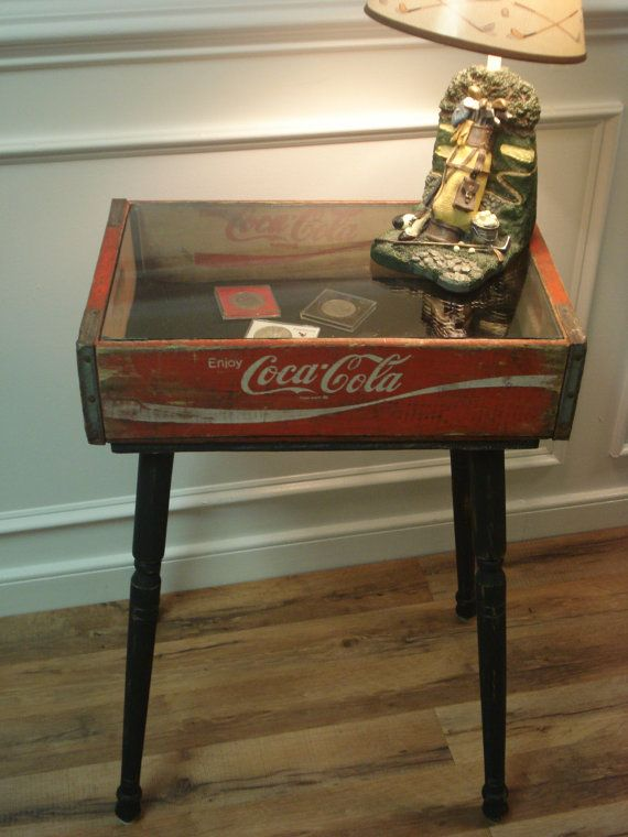 Vintage Coca Cola Crate Shadow Box Table