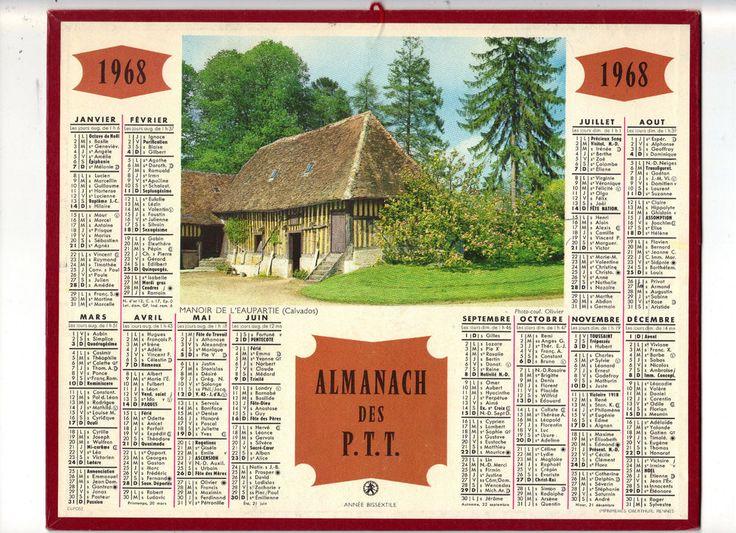 CALENDRIER, ALMANACH PTT - ANNEE 1968 - MANOIR DE L  EAUPARTIE (CALVADOS)