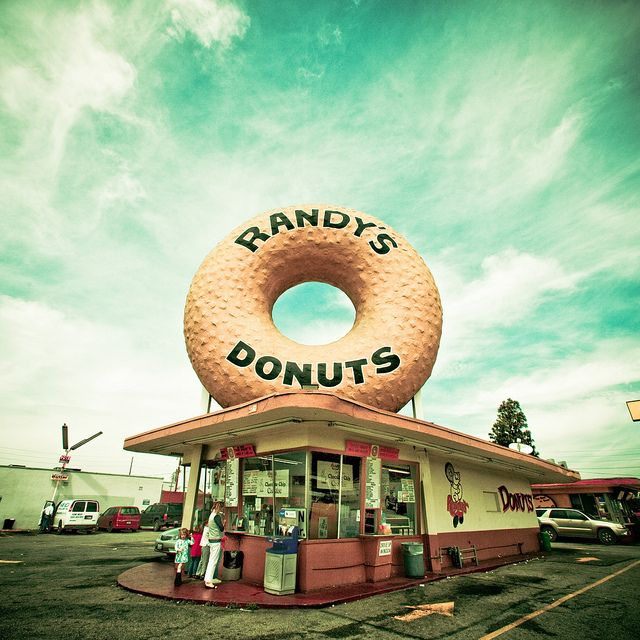 Randy's Donuts from iron man!! I want to take a picture in front of this someday!!