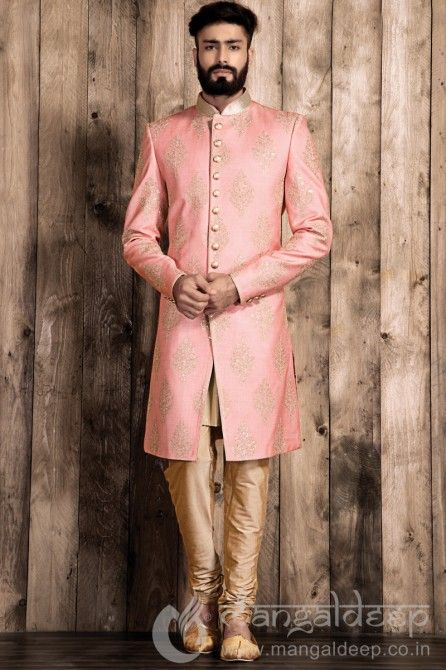 Pink Silk Indo Western Mens Wear Suit. For more information :- Call us @+919377222211 (Whatsapp Available)